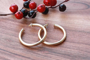 Large Everyday Brushed Gold Hoops