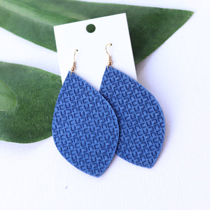 Royal Blue Embossed Leaf