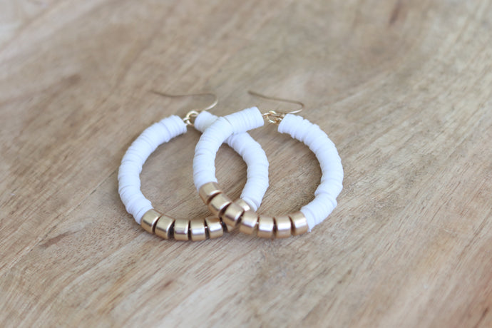 White & Gold Closed Circle Hoops