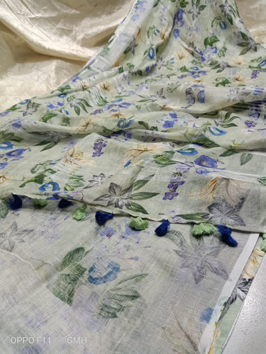 Gorgeous Linen with beautiful Digital Print flowers - Indian String
