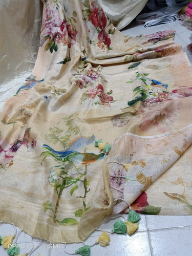 Dusky Linen with beautiful Digital Print flowers