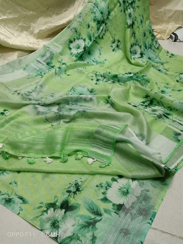 Parrot Green Linen with beautiful Digital Print flowers