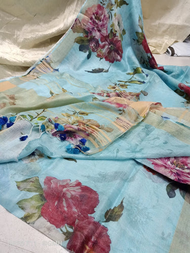 Light Blue and Red Linen with beautiful Digital Print flowers