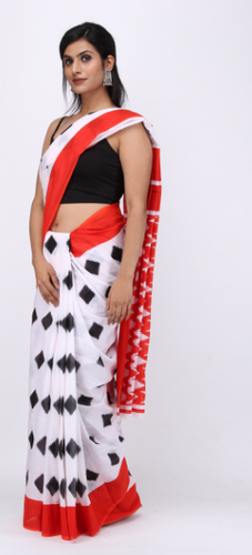 Black and Red Handprinted Cotton Mulmul Fabric Saree.