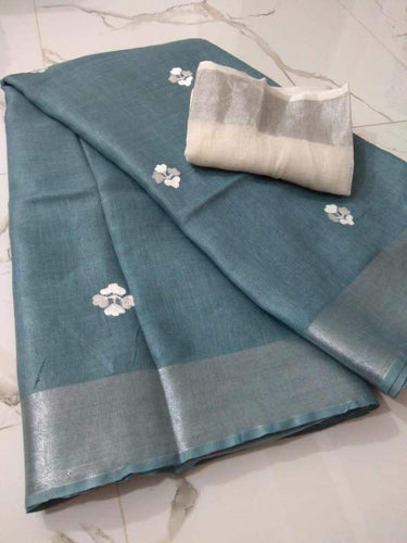 Grey Linen Zari Border and embroidery - Indian String