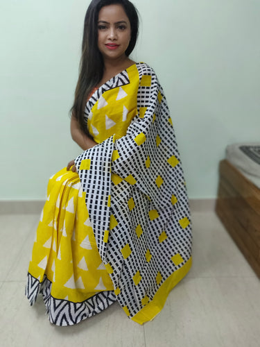 Yellow n Black Handprinted Cotton Mulmul Fabric Saree - Indian String