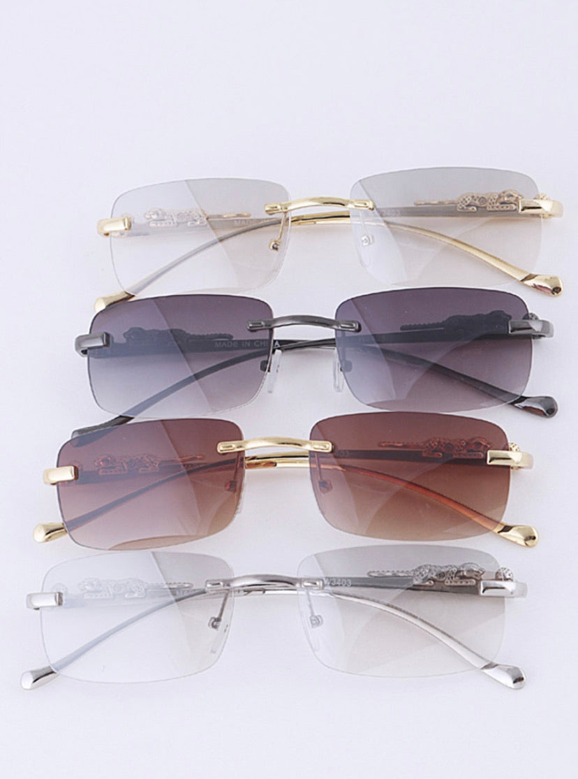Cheetah Temple Rimless Sunglasses