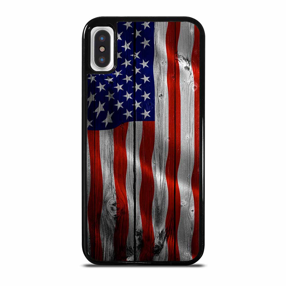 AMERICAN FLAG USA WOOD iPhone X / XS case