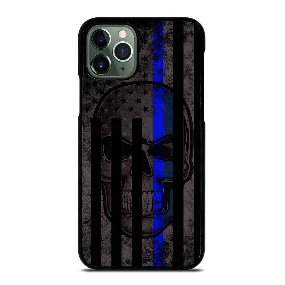 AMERICAN POLICE BLUE LINE SKULL iPhone 11 Pro Max Case