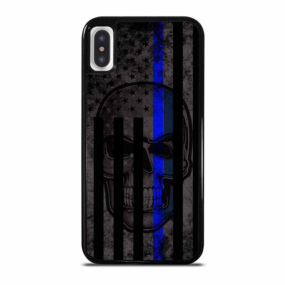 AMERICAN POLICE BLUE LINE SKULL iPhone X / XS case