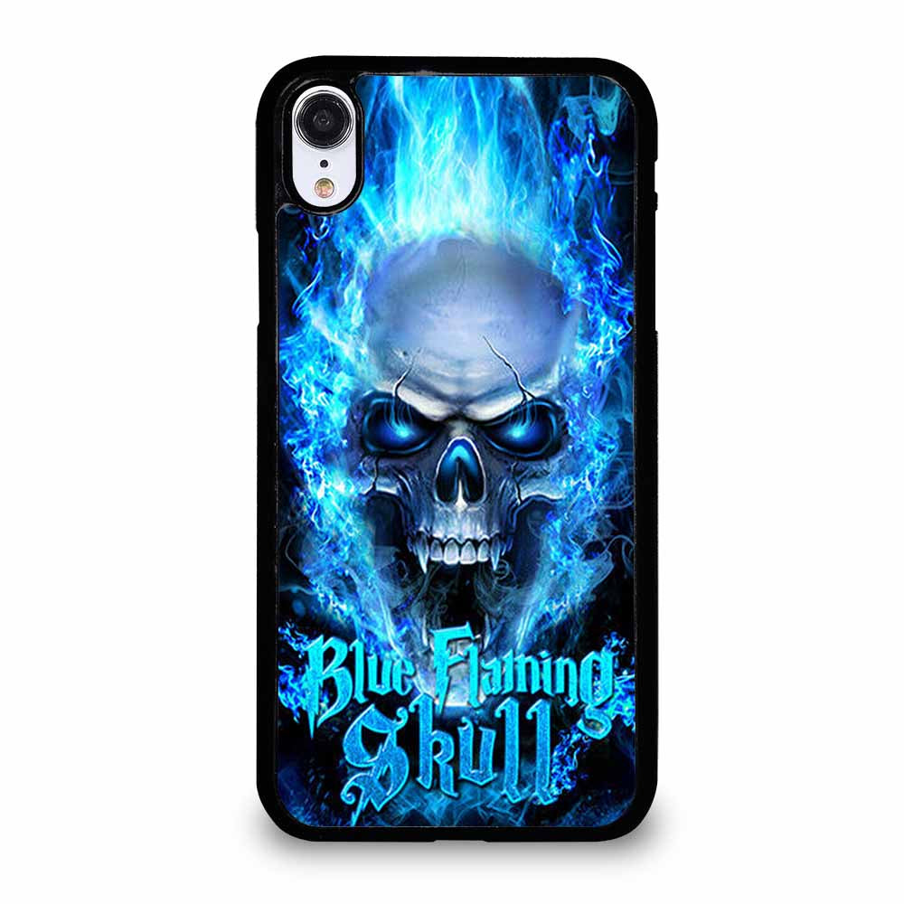 BIKER SKULL FLAMING BLUE iPhone XR Case