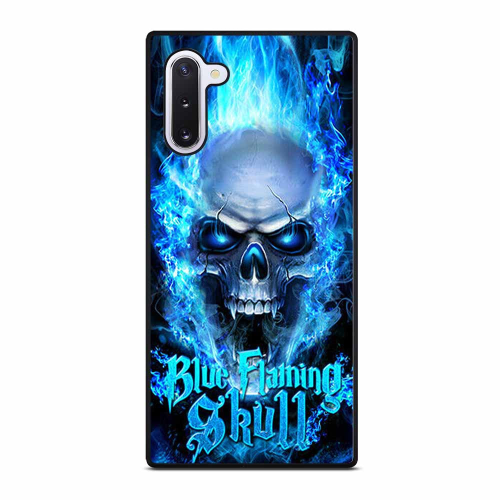 BIKER SKULL FLAMING BLUE Samsung Galaxy Note 10 Case