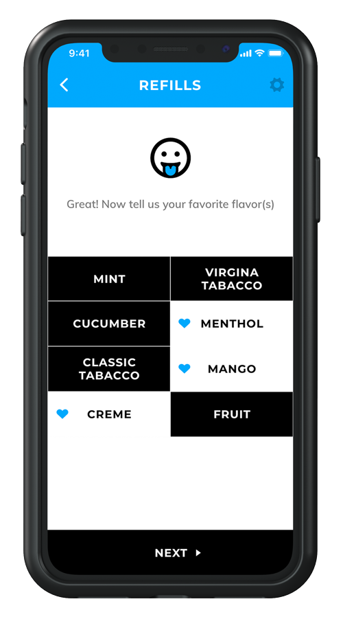 View of the Fluux app refill screen showing the step in which you choose your favorite flavors.