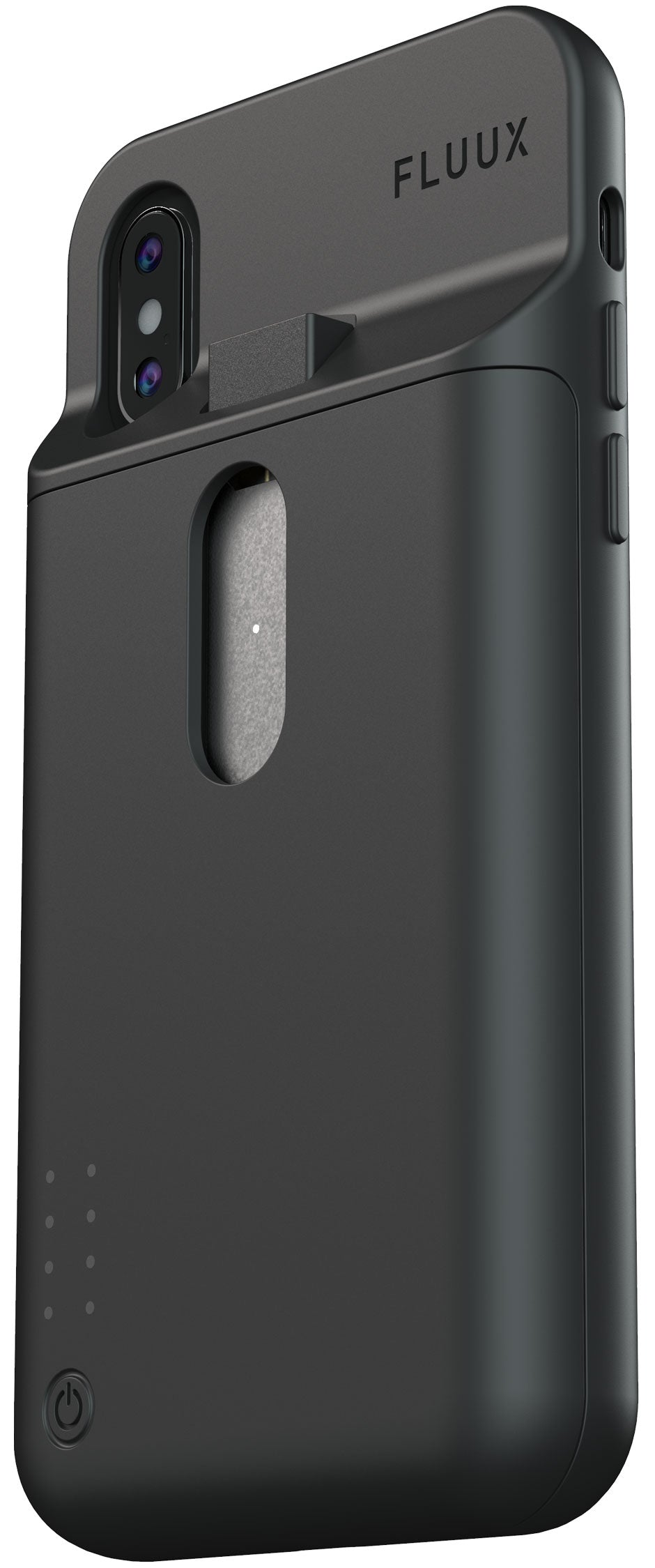 Backside view of Fluux phone case at a slight angle.