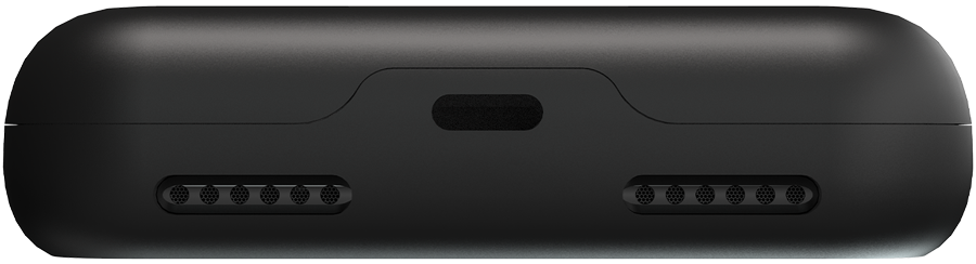Bottom view of Fluux phone case that shows lightning port and speaker openings.