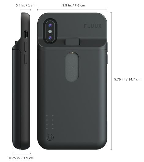 Side view and backside view of Fluux case showing dimensions.