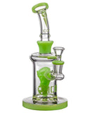 Diamond Glass Alien Head Perc Bong in Slyme Green