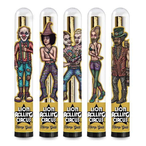 Lion Rolling Circus King Size Gold Hemp Cones