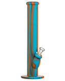 "Blue and Orange 14"" Silicone Straight Tube Bong"