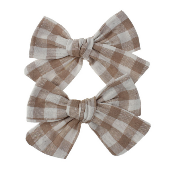 Playful Plaid Bows in Khaki