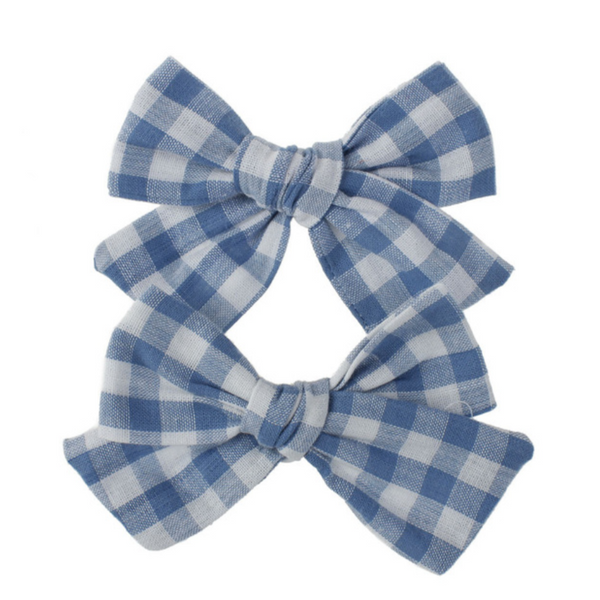 Playful Plaid Bows in Blue