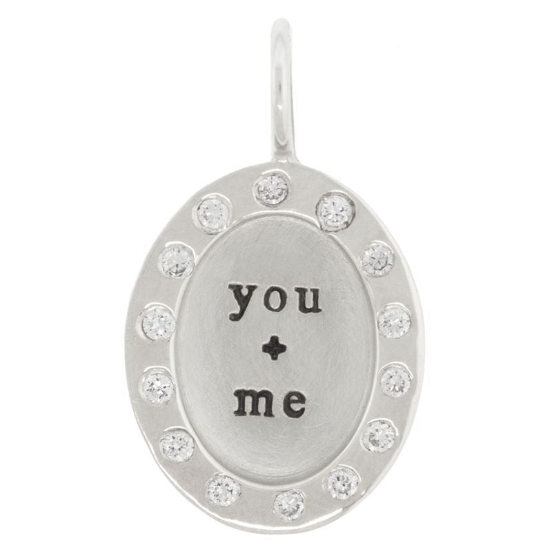 Heather B. Moore You + Me Wide Frame With Diamonds Oval Charm