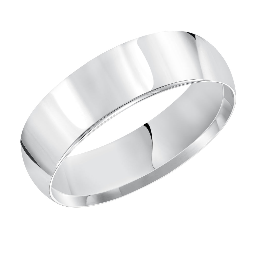 14K White Gold Comfort Fit Wedding Band, 3.5mm, Size 7