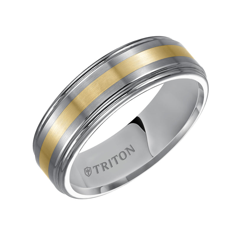 7mm Tungsten/Silver Wedding Band