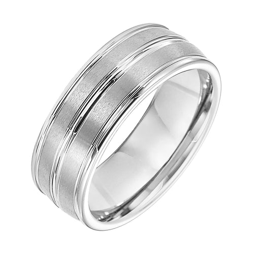 Gent's Grey Tungsten Wedding Band Size 10