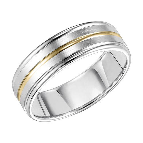 Gent's White Gold with Yellow Gold inlay 14 Karat Wedding Band