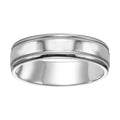 6mm Comfort Fit 14K White Gold Wedding Band, Millgrain