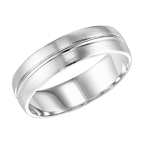 14K White Gold 6mm Comfort Fit Wht Engraved Wedding Band