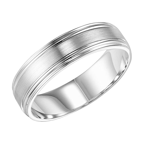 14K White Gold 6mm Comfort Fit Engraved Wedding Band