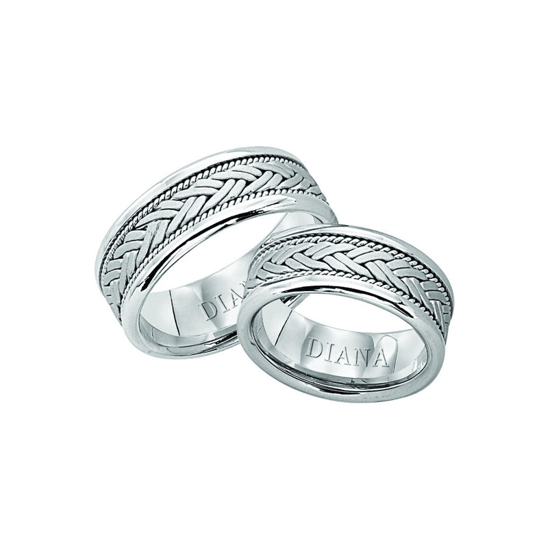 14K White Gold 8.5mm Woven Ring Size10