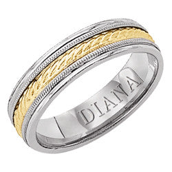 14K Tutone Fancy Wedding Band, 5mm