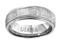 14K White Gold Fancy Wedding Ring w/ Hammered Finish