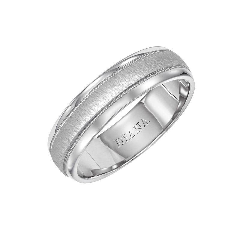 6mm Cf Men's Wedding Band, 14Kt White Gold, Size 10
