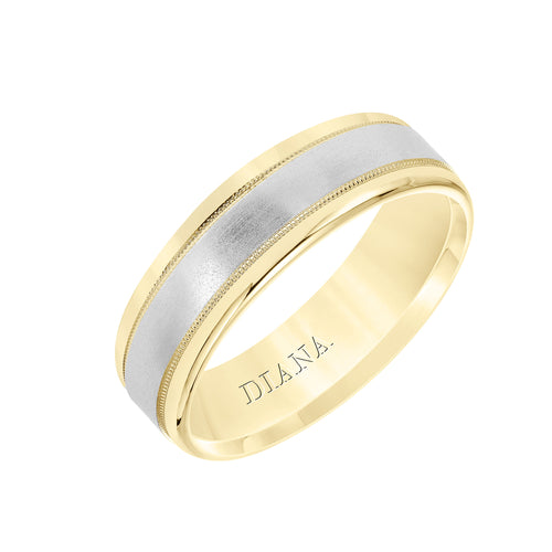 18K Yellow Gold And Platinum Millgrain Ring