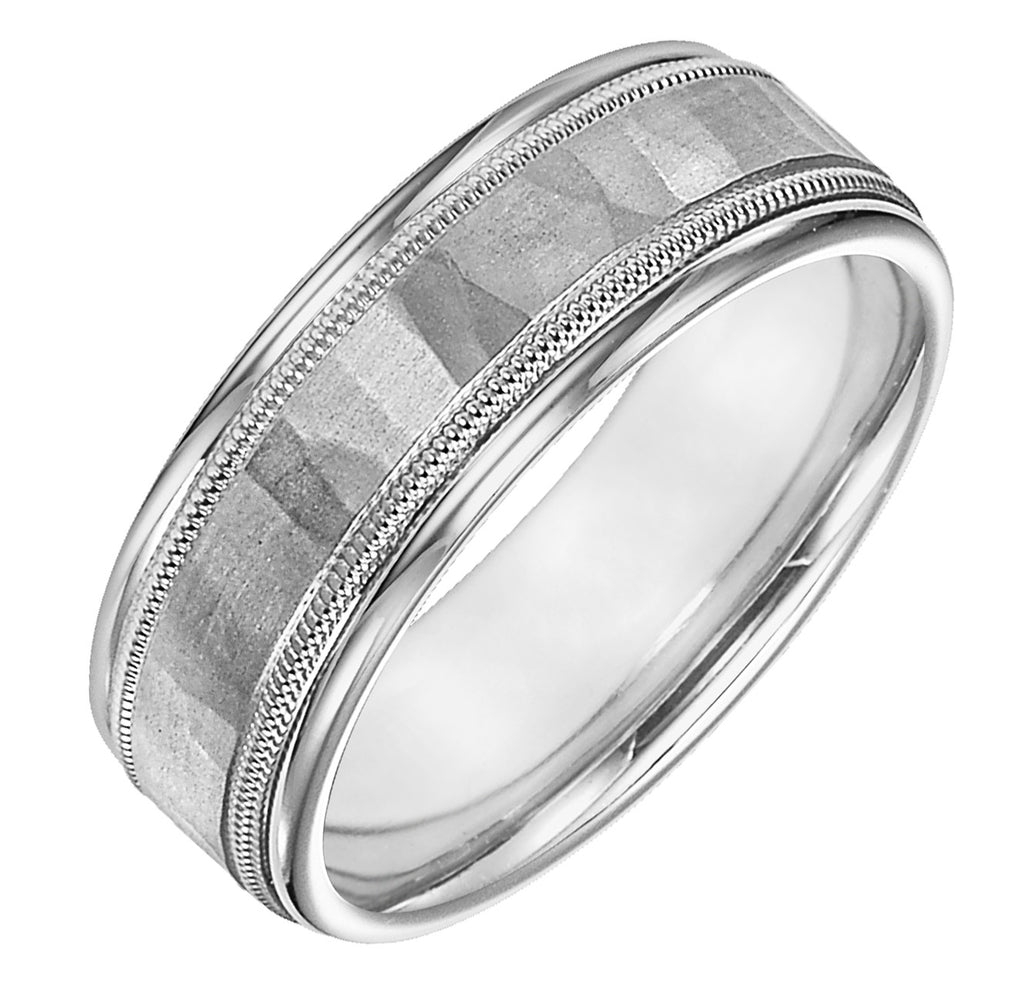Platinum & Palladium Hammered Ring w/ Millgrain Edge