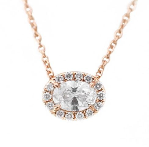 18K Rose Oval Diamond Halo pendant