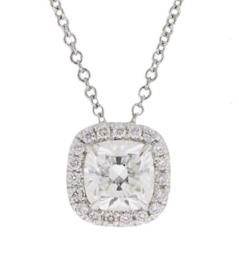 18K Diamond Halo Pendant