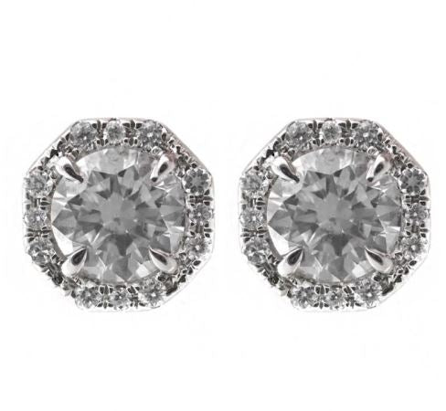 18K Diamond Octagon Halo Earrings