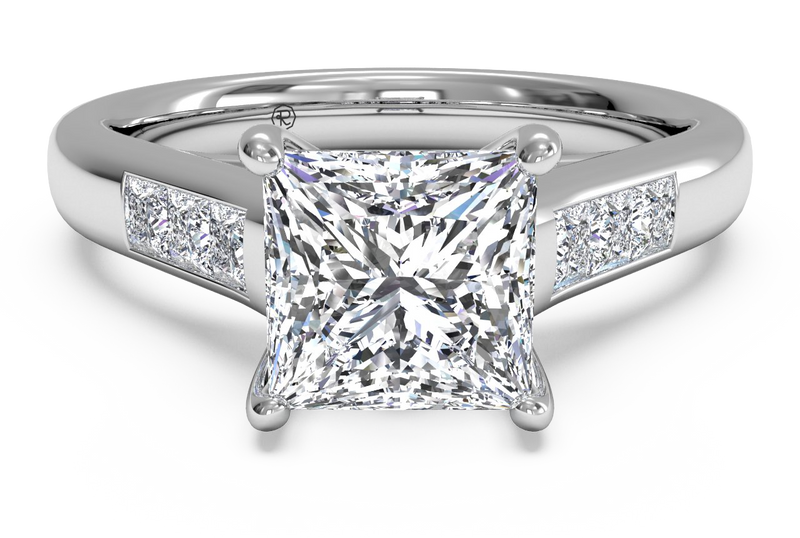 Ritani Solitaire Channel-Set Diamond Band Engagement Ring
