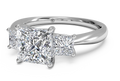 Ritani Three-Stone Diamond Engagement Ring with Princess-Cut Side-Diamonds