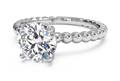 Ritani Solitaire Diamond Beaded Engagement Ring with Surprise Diamonds