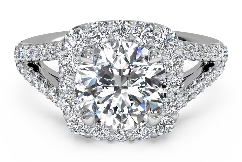 Ritani Cushion Halo Diamond 'V' Band Engagement Ring