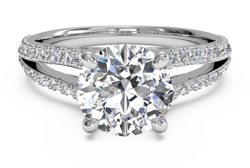 Ritani Double French-Set Diamond 'V' Engagement Ring with Surprise Diamonds