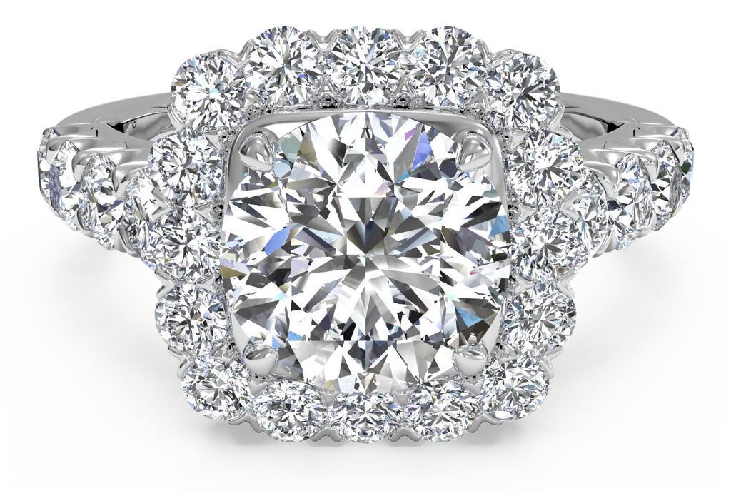 Ritani Masterwork Cushion Halo Diamond Band Engagement Ring