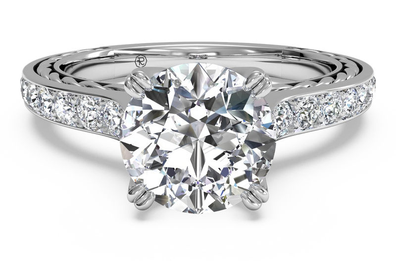 Ritani Solitaire Micropavé Braided Diamond Band Engagement Ring