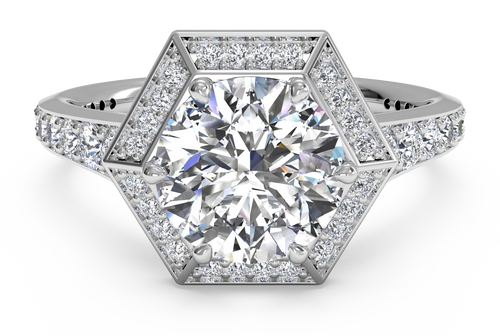 Ritani Vintage Hexagonal Halo Vaulted Diamond Band Engagement Ring